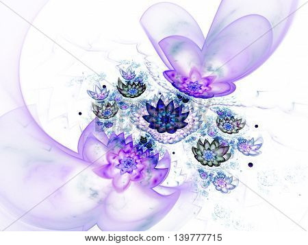 Abstract beautiful lotus flowers on white background. Fantasy blue and purple fractal design for greeting cards posters or t-shirts. Digital art. 3D rendering.