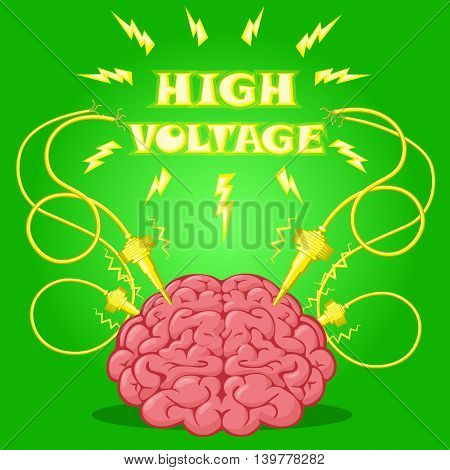 Funny Poster: brain with electrodes energized and text to design a banner or cover device. Cartoon drawing style. Vector illustration.