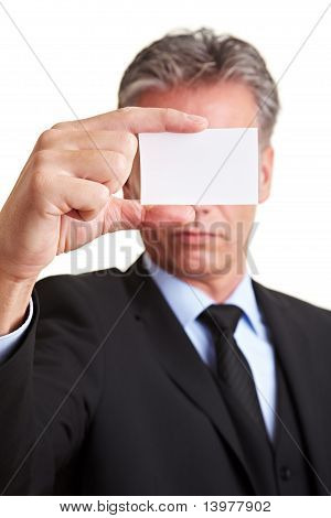 Manager Holding White Business Card