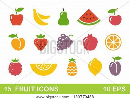Color stylized pictures fruit icons. Vector illustration