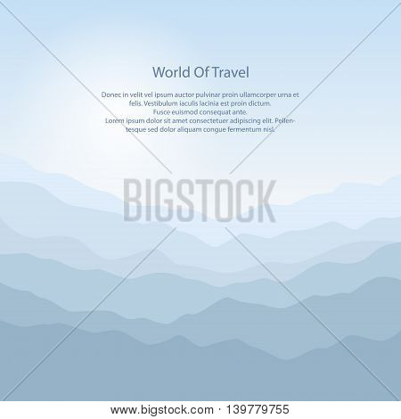 Silhouette of the Mountains at Sunrise, View of the Mountains in the Morning, Mountain Ranges in Shades of Blue, Waves ,Travel and Tourism Concept ,Vector Illustration