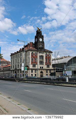 PRAGUE, CZECH REPUBLIC - JUNE 19, 2016: Building of Central railway station in Prague