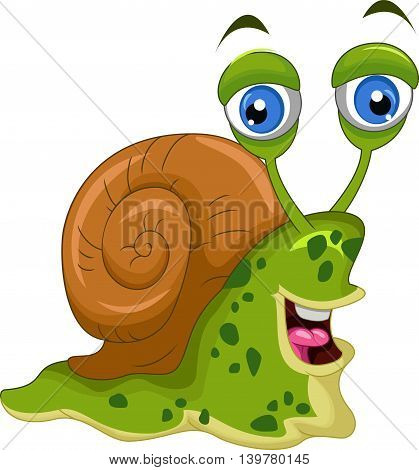 cute green snail cartoon for you design
