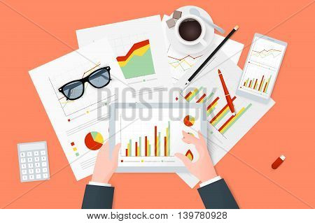 Analytic research and report on paper sheet, modern electronic and mobile devices. Work desktop top view. Modern flat vector design.