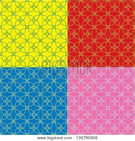 Vector set of colorful seamless background. Geometric ornament pattern with repeating elements.