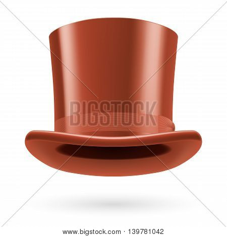 Brown top hat on the white background.
