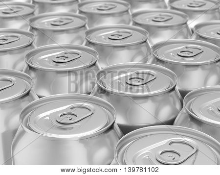 Aluminum drink can background. 3D rendering background.