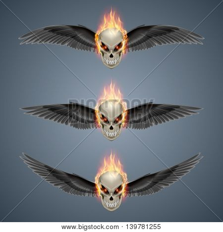 Set of mutant skulls with long fangs orange flame and black wings