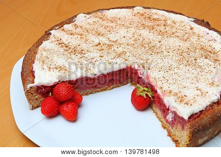 Wholemeal Strawberry Cake On A Plate