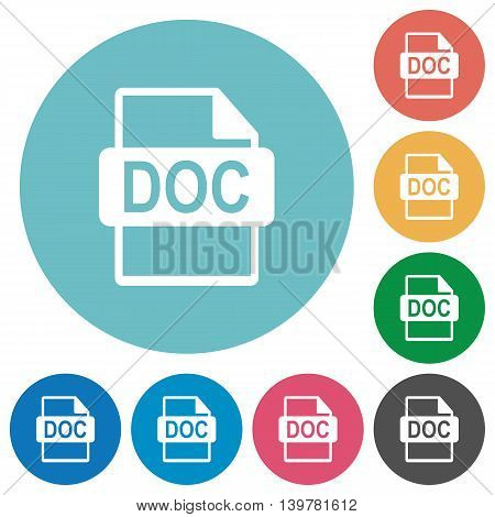 Flat DOC file format icon set on round color background.