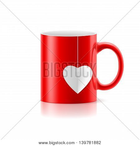 Red cup with teabag in the form of heart