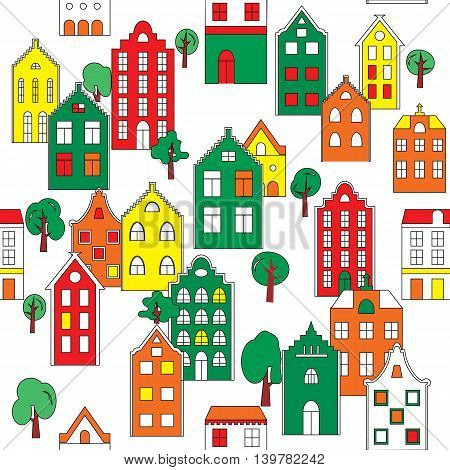 Seamless pattern background with european houses in bright colors. For  backgrounds decoration for your design textile and more.