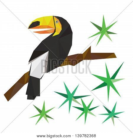 Vector toucan on the branch. Low poly style.