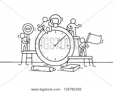 Sketch of stopwatch with working little people. Doodle cute miniature teamwork about deadline. Hand drawn cartoon vector illustration for business design and infographic.
