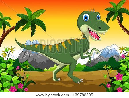 Cute dinosaur cartoon in the jungle for your design