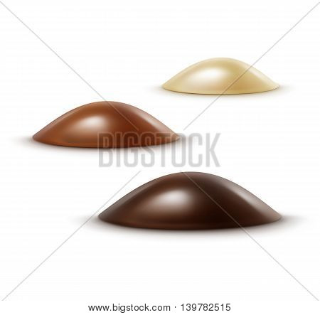 Vector Set of Realistic Black Dark Bitter White Milk Chocolate Candies in Various Shapes Isolated on White Background
