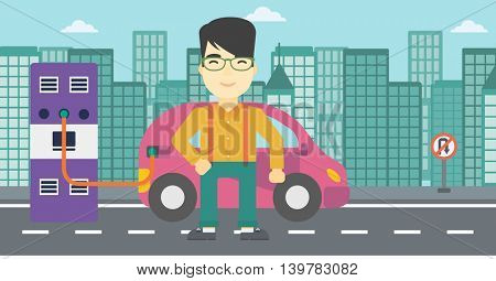 An asian man charging electric car at charging station in the city. Man standing near power supply for electric car charging. Vector flat design illustration. Horizontal layout.