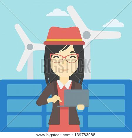 An asian female worker of solar power plant and wind farm. Woman working on laptop on a background of solar power plant and wind turbines. Vector flat design illustration. Square layout.
