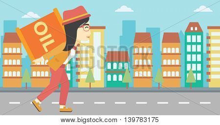 An asian woman carrying an oil barrel on his back. Woman with oil barrel walking on a city background. Woman with oil barrel on his back. Vector flat design illustration. Horizontal layout.
