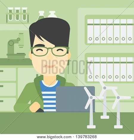 An asian man working in office with laptop and model wind turbine on the table. Man working with model wind turbines. Green energy concept. Vector flat design illustration. Square layout.