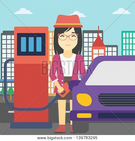 An asian woman filling up fuel into the car. Woman standing at the gas station and refueling a car. Vector flat design illustration. Square layout.