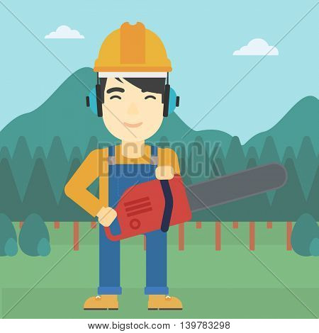 An asian lumberjack in helmet holding a chainsaw on a forest background. Vector flat design illustration. Square layout.