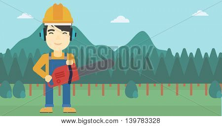 An asian lumberjack in helmet holding a chainsaw on a forest background. Vector flat design illustration. Horizontal layout.