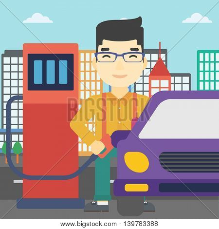 An asian man filling up fuel into the car. Man standing at the gas station and refueling a car. Vector flat design illustration. Square layout.