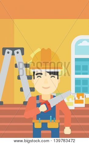 An asian worker holding a saw in hand. A man in overalls and hard hat with saw in apartment. Vector flat design illustration. Vertical layout.