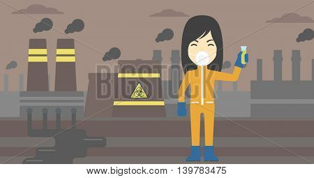 An asian scientist in radiation protective suit. Woman holding a test-tube with some liquid on a background of nuclear power plant. Vector flat design illustration. Horizontal layout.