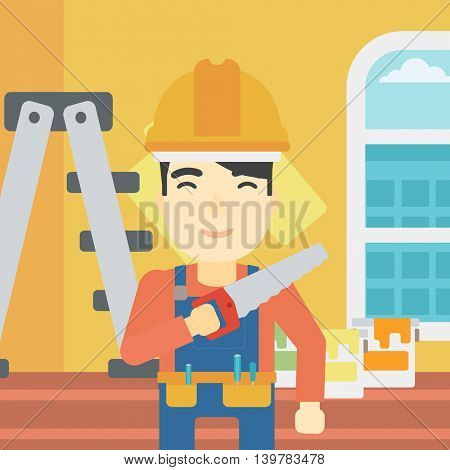An asian worker holding a saw in hand. A man in overalls and hard hat with saw in apartment. Vector flat design illustration. Square layout.