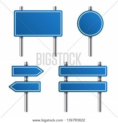 Blue Road Sign Set on White Background. Vector illustration