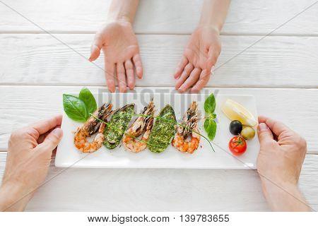 Restaurant Kitchen Mediterranean Chef Cooking Cuisine Prepare Chef Concept