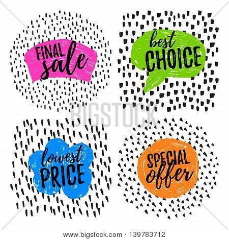 Collection of vector hand drawn sale shapes with place for text. Final Sale, Best Choice, Lowest Price, Special Offer.