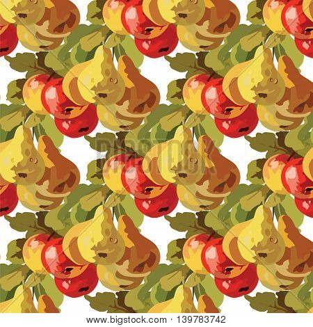 Watercolor Pears and Apple Fruits pattern background. Vector