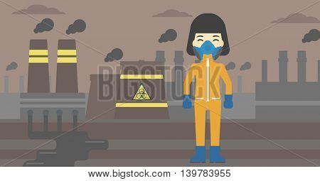 An asian woman wearing gas mask and radiation protective suit. Woman in radiation protective suit on a background of nuclear power plant. Vector flat design illustration. Horizontal layout.