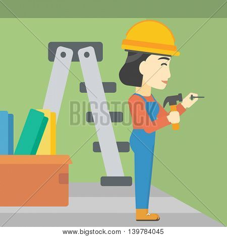 An asian female worker hammering a nail into the wall. Worker in overalls and hard hat nailing with hammer in apartment. Vector flat design illustration. Square layout.