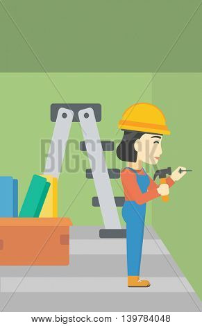 An asian female worker hammering a nail into the wall. Worker in overalls and hard hat nailing with hammer in apartment. Vector flat design illustration. Vertical layout.