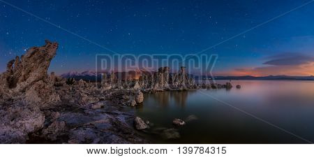 Mono Lake And Sierra Mountains At Sunrise Panorama