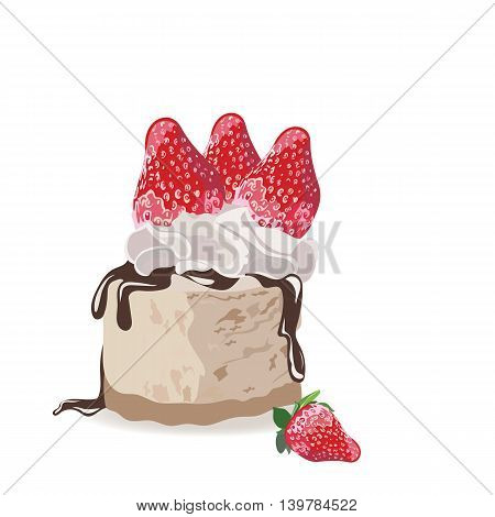A piece of delicious cake isolated. Vector Slice cake with melted chocolate and strawberry