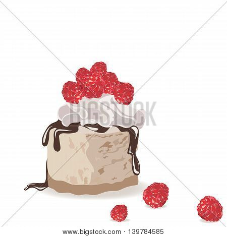 A piece of delicious cake isolated. Vector Slice cake with melted chocolate and raspberry