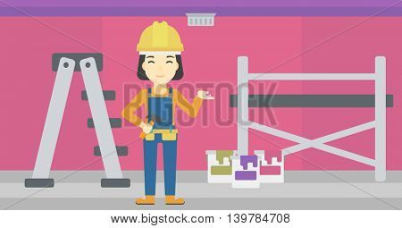 An asian woman in helmet with a hummer and a nail in hands standing on the background of purple walls, paint cans and ladder vector flat design illustration. Horizontal layout.