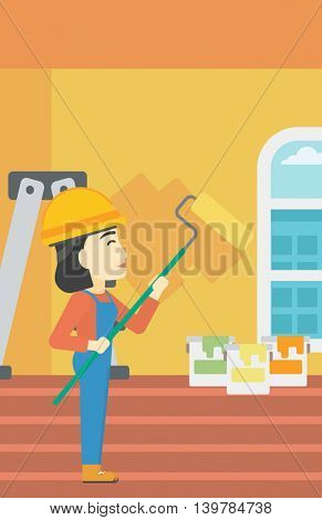 An asian female painter in overalls with a paint roller in hands. Painter painting walls with a paint roller in an apartment. Vector flat design illustration. Vertical layout.