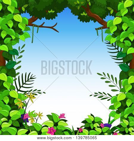 beauty landscape with green forest  for you design