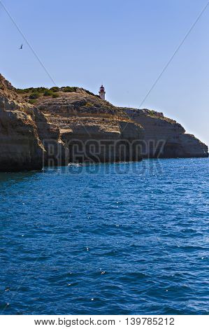 Lighthouse On Top Of Cliff At Cabo Sao Vicente, Algarve Region, Portugal