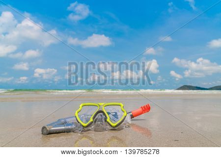 Scuba Diving Equipment On The White Sea Sand Beach