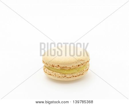 French colorful macarons on white background
