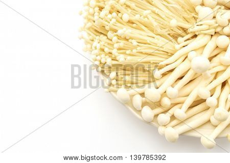 Enoki mushroom and beech mushrooms on the White background