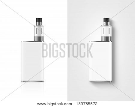 Blank white vape mod box mockup isolated clipping path stand and lies top view 3d illustration. Clear smoking vapor mock up template. Modbox vaporizer device presentation. E-cigarette vaping gear design display.