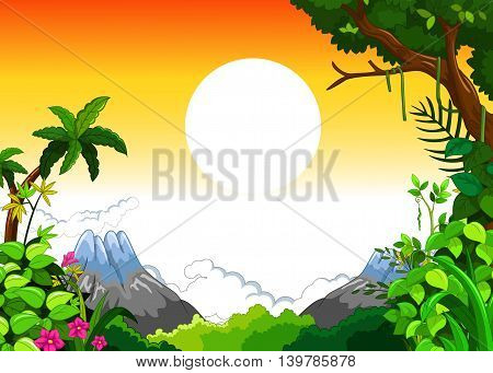 landscape with sunset background for you design